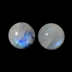 RAINBOW MOONSTONE  ROUND 13MM MATCHED PAIR APPROXIMATELY 15 CARAT