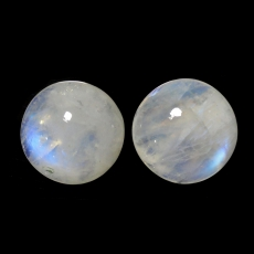 RAINBOW MOONSTONE CABS  ROUND 14MM APPROXIMATELY 16 CARAT MATCHED PAIR