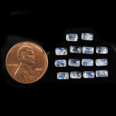 Rainbow Moonstone Cabs Emerald Cut 5X3MM Approximately 4 Carat