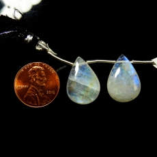 Rainbow Moonstone Drops Almond Shape 19x13mm Drilled Beads Matching Pair
