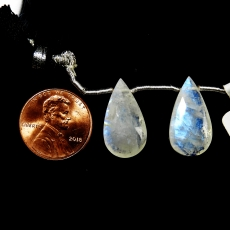 Rainbow Moonstone Drops Almond Shape 20x16mm Drilled Beads Matching Pair