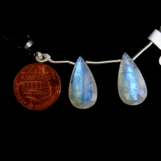 Rainbow Moonstone Drops Almond Shape 21x11mm Drilled Beads Matching Pair