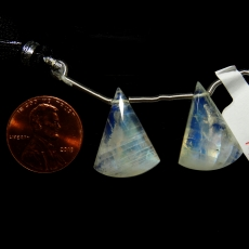 Rainbow Moonstone Drops Conical Shape 21x16mm Drilled Beads Matching Pair