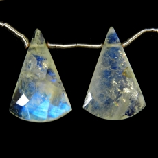 Rainbow Moonstone Drops Conical Shape 22x14mm Drilled Beads Matching Pair