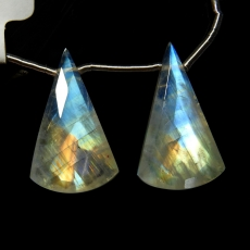 Rainbow Moonstone Drops Conical Shape 24x14mm Drilled Beads Matching Pair