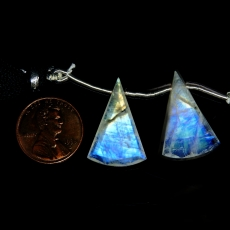 Rainbow Moonstone Drops Conical Shape 24x16mm Drilled Beads Matching Pair