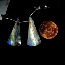 Rainbow Moonstone Drops Conical Shape 29x14mm Drilled Beads Matching Pair