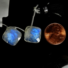Rainbow Moonstone Drops Cushion Shape 14x14mm Drilled Beads Matching Pair