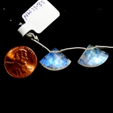 Rainbow Moonstone Drops Fan Shape 13x17mm Drilled Beads Matching Pair