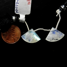 Rainbow Moonstone Drops Fan Shape 19x14mm Drilled Beads Matching Pair