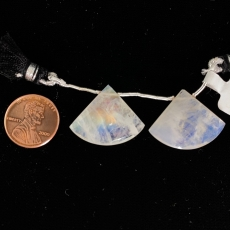 Rainbow Moonstone Drops Fan Shape 26x21mm Drilled Beads Matching Pair