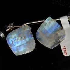 Rainbow Moonstone Drops Leaf Shape 22x20mm Drilled Beads Matching Pair