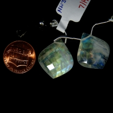 Rainbow Moonstone Drops Leaf Shape 23x29mm Drilled Beads Matching Pair