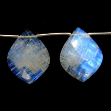Rainbow Moonstone Drops Leaf Shape 25x20mm Drilled Beads Matching Pair