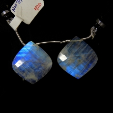 Rainbow Moonstone Drops Leaf Shape 25x23mm Drilled Beads Matching Pair