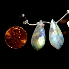 Rainbow Moonstone Drops Leaf Shape 26x12mm Drilled Beads Matching Pair