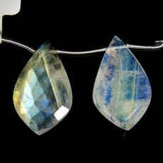 Rainbow Moonstone Drops Leaf Shape 26x16mm Drilled Beads Matching Pair