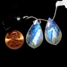 Rainbow Moonstone Drops Leaf Shape 27x16mm Drilled Beads Matching Pair