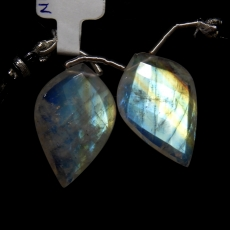 Rainbow Moonstone Drops Leaf Shape 27x18mm Drilled Beads Matching Pair