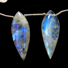 Rainbow Moonstone Drops Leaf Shape 29x11mm Drilled Beads Matching Pair