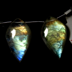 Rainbow Moonstone Drops Leaf Shape 29x17mm Drilled Beads Matching Pair