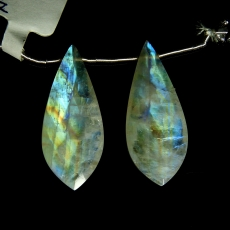 Rainbow Moonstone Drops Leaf Shape 32x13mm Drilled Beads Matching Pair