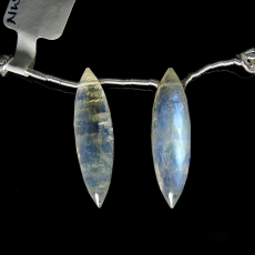 Rainbow Moonstone Drops Marquise Shape 28x8mm Drilled Beads Matching Pair