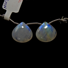 Rainbow Moonstone Drops Pear Shape 17x17mm Drilled Beads Matching Pair