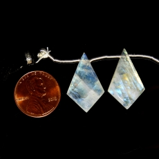 Rainbow Moonstone Drops Shield Shape 24x15mm Drilled Beads Matching Pair