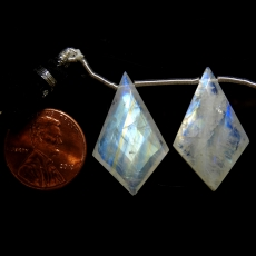 Rainbow Moonstone Drops Shield Shape 28x17mm Drilled Beads Matching Pair