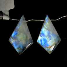 Rainbow Moonstone Drops Shield Shape 30x19mm Drilled Beads Matching Pair