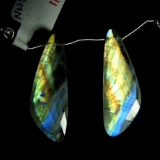 Rainbow Moonstone Drops Wing Shape 35x12mm Drilled Beads Matching Pair