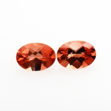 Red Andesine Oval 7x5mm Approximately 1.22 Carat Matched Pair
