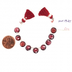 Red Garnet Drops Coin Shape 10x10mm Drilled Bead 7 Pieces