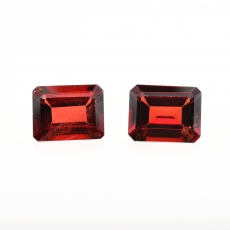 Red Garnet Emerald Cut 10x8mm Approximately 7.77 Carat Matching Pair