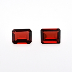 Red Garnet Emerald Cut 9x7mm Approximately 4.57 Carat Matching Pair