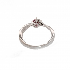 Red Spinel Princess Cut 0.38 Carat With Accent white Diamond Ring In 14k White Gold