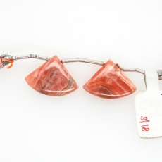 Rhodochrosite Drops Fan Shape 15x20mm Drilled Beads Matching Pair
