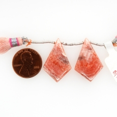 Rhodochrosite Drops Shield Shape 28x18mm Drilled Beads Matching Pair