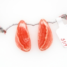 Rhodochrosite Drops Wing Shape 28x13mm Drilled Beads Matching Pair