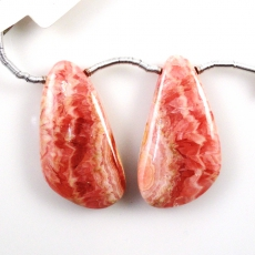 Rhodochrosite Drops Wing Shape 28x15mm Drilled Beads Matching Pair