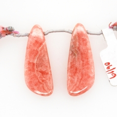 Rhodochrosite Drops Wing Shape 33x12mm Drilled Beads Matching Pair