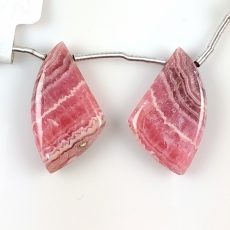 Rhodochrosite Fancy Shape Drops 27x15mm Drilled Beads Matching Pair
