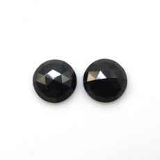 Rose Cut Black Spinel Approximately 6 Carat Round 10mm Matched Pair