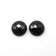 Rose Cut Black Spinel Round 10mm Matching Pair Approximately 6 Carat