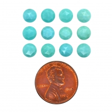 Rose Cut Blue Turquoise Cabs Round 6mm Approximately 7.24 Carat
