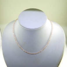 Rose Quartz Facted Roundelle Beads 33 Carat 4mm Ready To Wear Necklece