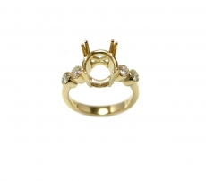 Round  9mm Ring Semi Mount In 14K Gold With White Diamonds  (RG1351)