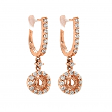 Round 4.1mm Earring Semi Mount in 14K Rose Gold with White Diamonds
