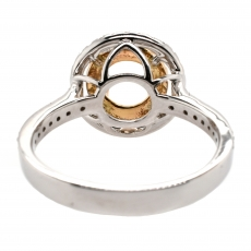 Round 4.5mm Ring Semi Mount In 14K Gold With White Diamonds